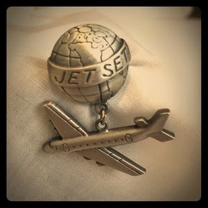 Vintage pewter airplane and globe jetset pin